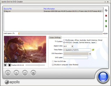 Apollo DivX to DVD Creator,DivX to DVD,AVI to DVD,XVid to DVD impossibly easy.