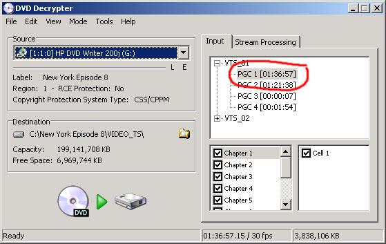 Rip the DVD using DVD Decrypter