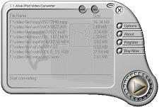 Alive iPod Video Converter is a professional ipod video software to convert your regular PC video files (avi, mpeg, divx, etc) into the proper video format that your iPod understands.