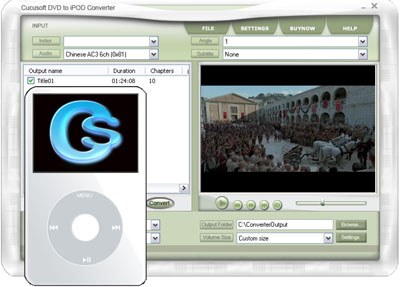 The Cucusoft DVD to iPod Converter is the easiest to use DVD to iPod converter software available.